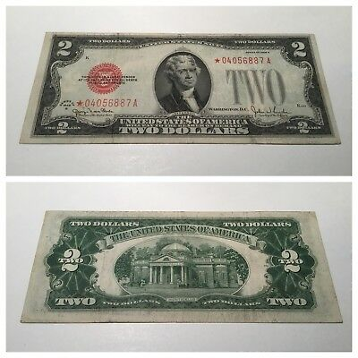 VINTAGE star $2 1928-G UNITED STATES NOTE RED SEAL JEFFERSON TWO DOLLAR BILL USN