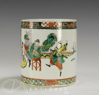 Antique Chinese Famille Verte Brush Pot With Continuous Scene Of Figures - 19C