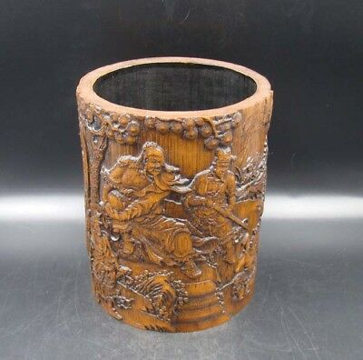 Collectible Handmade Carving Bamboo Brush Pot Statue people
