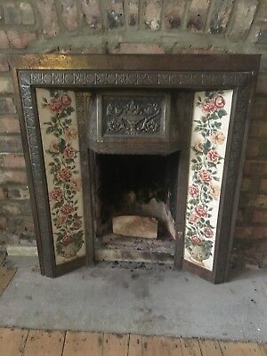 Victorian cast iron fireplace surround with original tiles