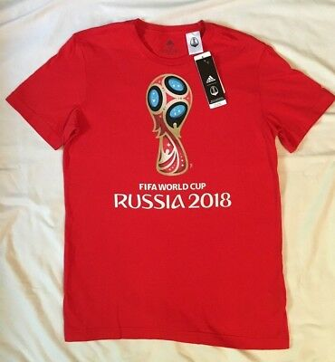 9215ce0ee15 Adidas Fifa Mens Tee World Cup Russia 2018 Emblem T-Shirt Authentic Gray S  M L