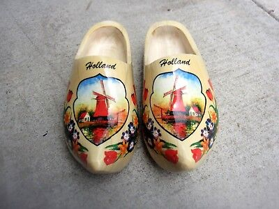 Hand Carved Painted Dutch Wooden Shoes klompen Holland Windmill size 6.5 female