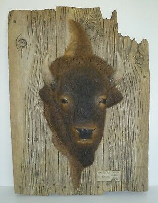 American Bison (Buffalo) Wood Plank Carving Wall Decor G Turner 518/3000