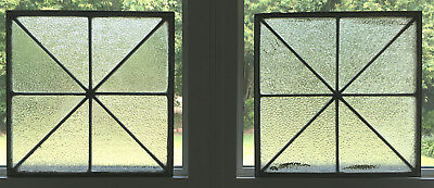 Pair of Architectural Glass Panels, Zinc Came (Leaded Glass) Stout & Beautiful!!