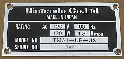 Vintage Nintendo Mario Brothers Arcade Game Serial Number Tag Plate ID Widebody