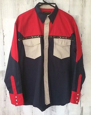 Rustler By Wrangler Western Shirt Color Block Pearl Snap Down  Men's L Navy Blue