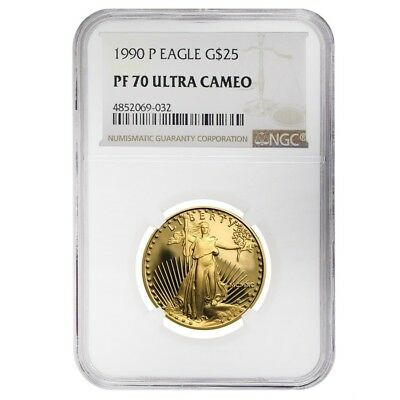 1990 P 1/2 oz $25 Proof Gold American Eagle NGC PF 70 UCAM