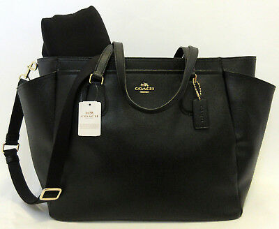 Coach Crossgrain Leather Baby Diaper Bag Black MultiFunction Bag F57786 $495 NWT