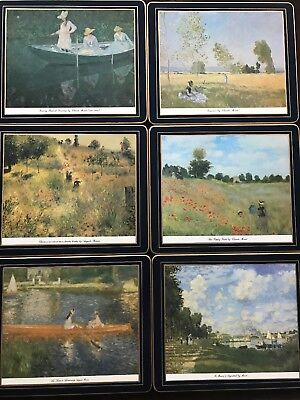 Vintage Lady Clare Placemats England Original Box French Impressionists Set Of 6