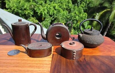 LOT Antique Japanese Bronze/Iron Suiteki Calligraphy Water Droppers Coin Teapot