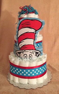 Diaper Cake Inspired by Dr. Seuss Cat In Hat Baby Shower Centerpiece