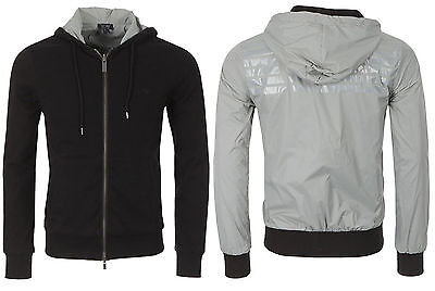 NWT $245 Armani Jeans Reversible Cotton Nylon Hooded Lightweight Slim Fit Jacket