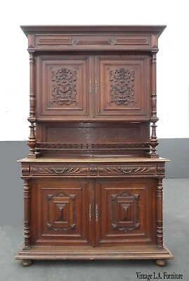 Antique French 19th Century Hunters Cabinet Hutch China Cabinet Spanish Style