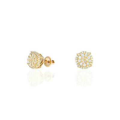 1Ct Natural Diamond 14k Yellow Gold Round Screw Back Stud Earrings 10mm