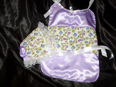 Adult Baby Sissy Lilac Satin Teddy Bonnet + Bib Lace Trimmed White  Satin  Ties