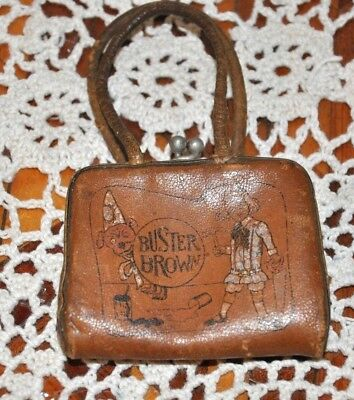 Rare Antique Buster Brown Leather Advertising Child's Change Purse