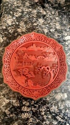 Antique Chinese Qing Dynasty Cinnabar Style Dish