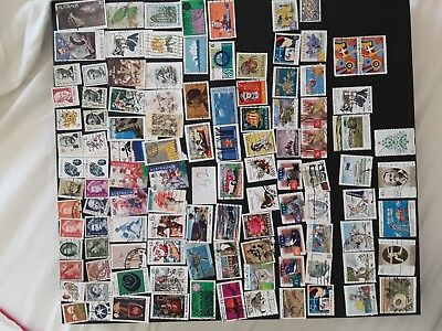 Australian Stamps, Used All Different, bulk collection QTY100 + off paper  (32A)