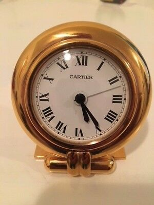 Cartier Travel Desk Clock 24K Gold Plated Unisex 1994. Very collectible.