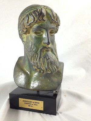 Vintage Greek Statue Poseidon or Zues Bronze Cast Iron Effect