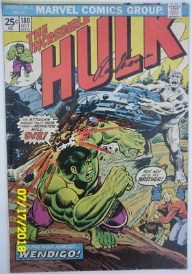 The Incredible Hulk #180 (1974), Marvel 1st cameo of Wolverine Sgined Roy Thomas