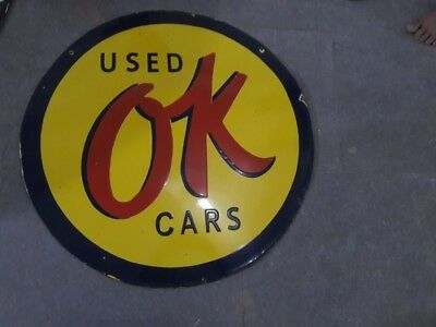 """Porcelain Use  Ok Cars Sign 30"""" INCHES DOUBLE SIDED Pre-Owned"""