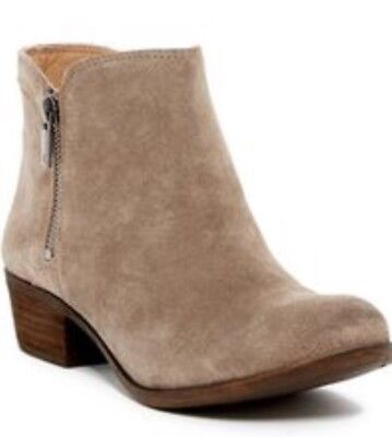 Lucky Brand Breah Beige Suede Leather Ankle Boots 7.5W Wide EXCELLENT CONDITION