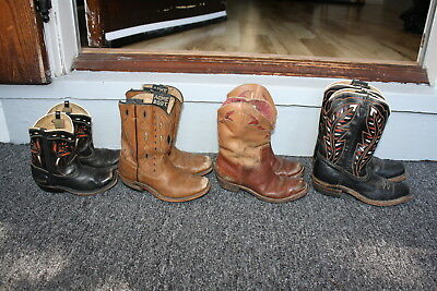 Vintage 50's Western Decor Same Childs Leather Cowboy Boots Acme Collection