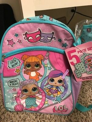 LOL Surprise Dolls Backpack For Girls, Kids School Lunch Bag Tote 5 Pc