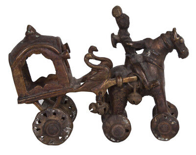 Indien 19. Jh. Bronze Spielzeug Pferd & Wagen Bronze Toy Horse & Carriage India