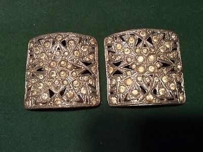 Beautiful Vintage Antique Pair Of Deauville Rhinestone Decorated Shoe Buckles