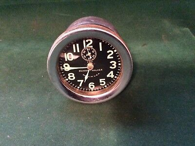 Excellent Vintage Phinney - Walker 8 Day Rim Wind Black Face Car Clock Runs Good