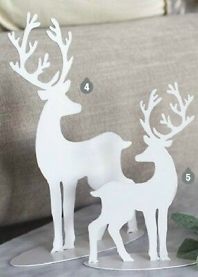 CHRISTMAS REINDEER METAL WHITE SILHOUETTE 24cm Table Decorations under tree xmas