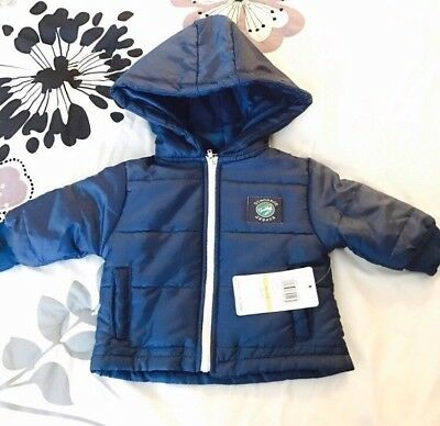 Peanut Buttons Boys Puffer Coat Blue Hooded NEW Sz 12 Months