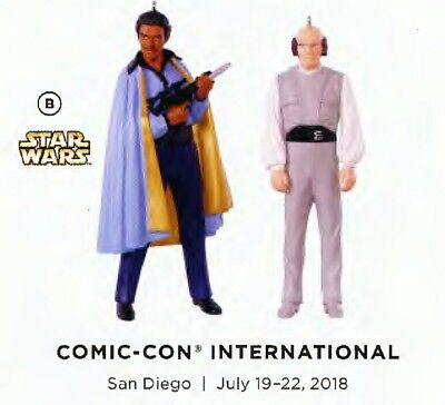SDCC 2018 Hallmark Keepsake Ornament Star Wars Lando and Lobot 2 pack