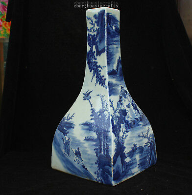 37cm Collect China Old Blue and White Porcelain Handmade landscape vase HCNG