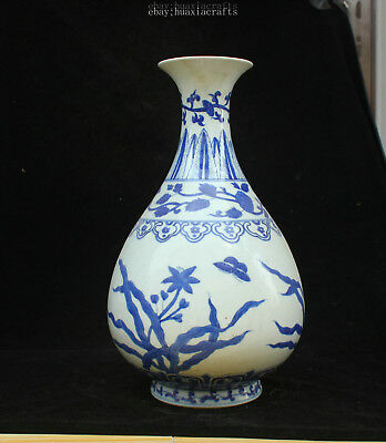 33cm Collect China Old Blue and White Porcelain Handmade Orchid Flower vase HCNG