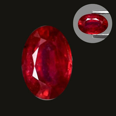 6x4mm Oval Heated Glass Gemstone Natural Top Red Ruby Artificial Zircon