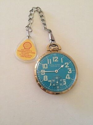 Vintage SHELL OIL Super X CLINTON Jewel Pocket Watch with Advertising Fob Mint