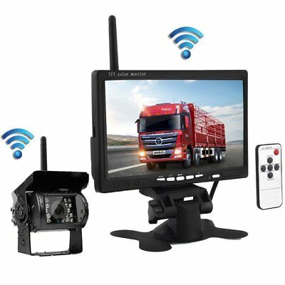 "7"" Monitor Wireless Rear View Backup Camera IR Night Vision for RV Truck Bus Van"