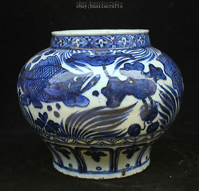 20cm Collect China Old Blue and White Porcelain Pottery Handmade Fish Pot HCNG