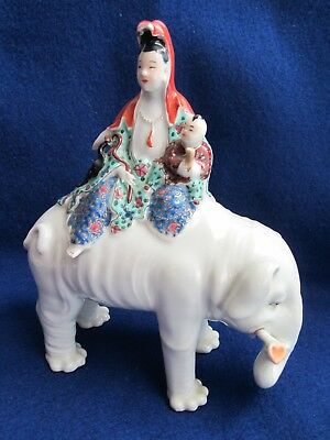 Antique Chinese Qianlong Period Immortals Riding an Elephant Porcelain Figurine