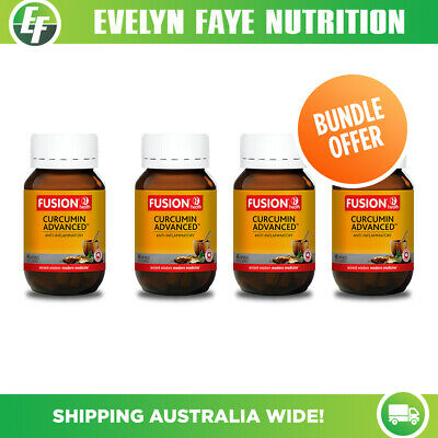Fusion Health Curcumin Advanced 60 Capsules |Turmeric| Pack of 4+ Free shipping