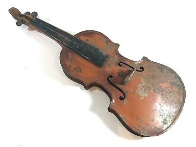 Vintage / Antique? Metal Tin Enamel Violin Instrument Body Only 19 Inch Unusual