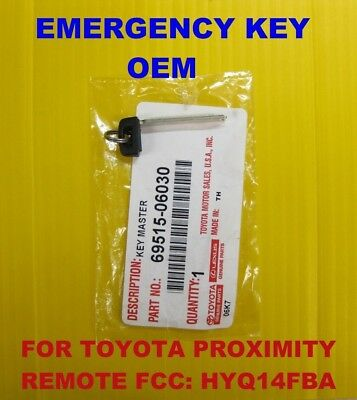 NEW OEM 2013 - 2018 Toyota Smart PROX Emergency Key Blade 69515-06030 HYQ14FBA