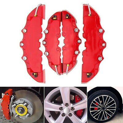 4PCS Car Front & Rear 3D Look Brake Disc Caliper Cover Kit ABS Red Universal