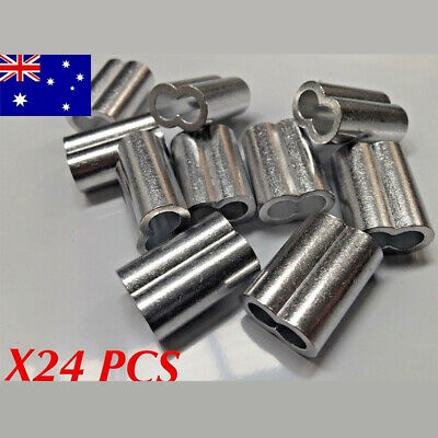 24 x M6 Figure 8 Aluminium Swage Ferrule for 6mm Wire Cable Telstra Rope Crimp