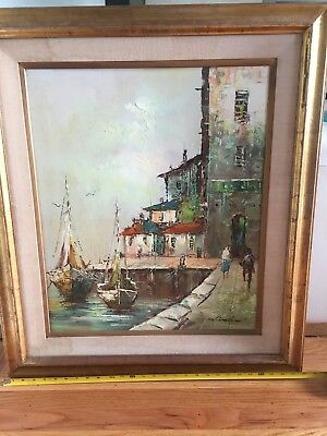 Vintage mid century oil painting framed signed Winslow. Boats harbor