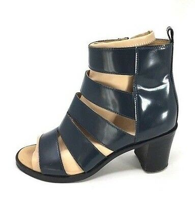 MM6 Maison Martin Margiela 38 / 8 Navy Blue / Beige Leather Open Toe Ankle Boots
