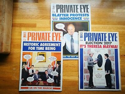 Private Eye magazines, 1394 Blatter, 1443 Election '17, 1447 DUP, classic